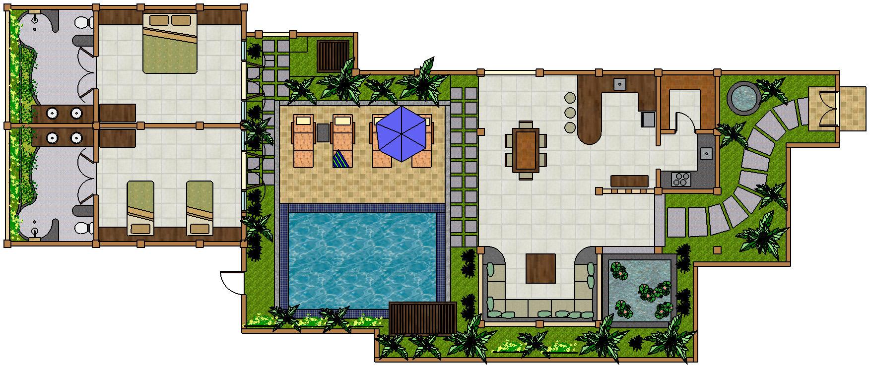 deluxe 2 bedroom - villa teman lovina bali - floorplan